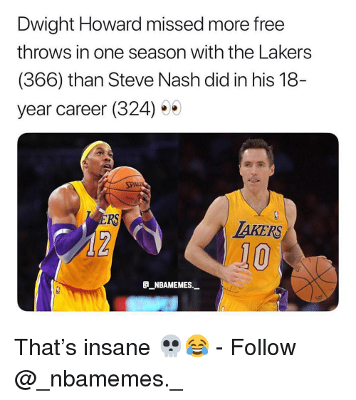 nash: Dwight Howard missed more free  throws in one season with the Lakers  (366) than Steve Nash did in his 18  year career (324) 5  SPA  RS  TAKERS  10  _NBAMEMES._ That's insane 💀😂 - Follow @_nbamemes._