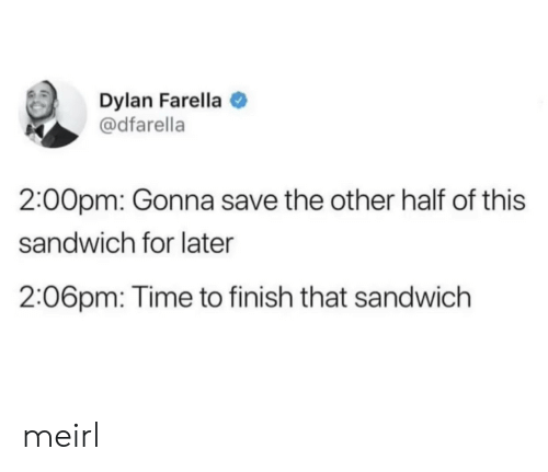 Time, MeIRL, and Sandwich: Dylan Farella  @dfarella  2:00pm: Gonna save the other half of this  sandwich for later  2:06pm: Time to finish that sandwich meirl