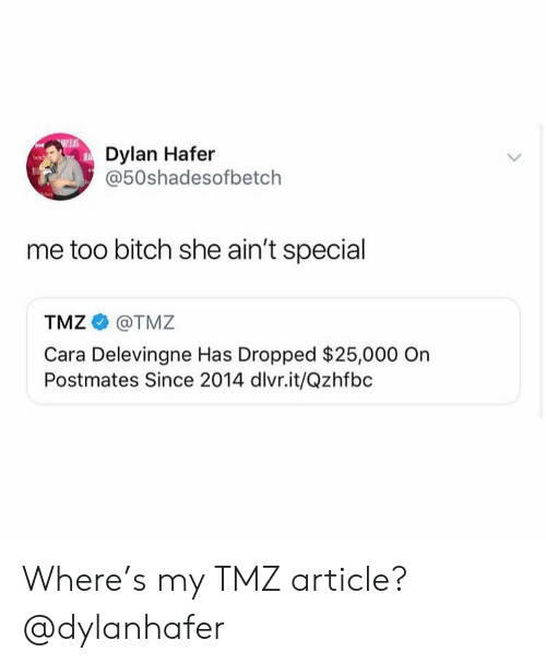 Bitch, Cara Delevingne, and Girl Memes: Dylan Hafer  @50shadesofbetch  me too bitch she ain't special  TMZ @TMZ  Cara Delevingne Has Dropped $25,000 On  Postmates Since 2014 dlvr.it/Qzhfbc Where's my TMZ article? @dylanhafer