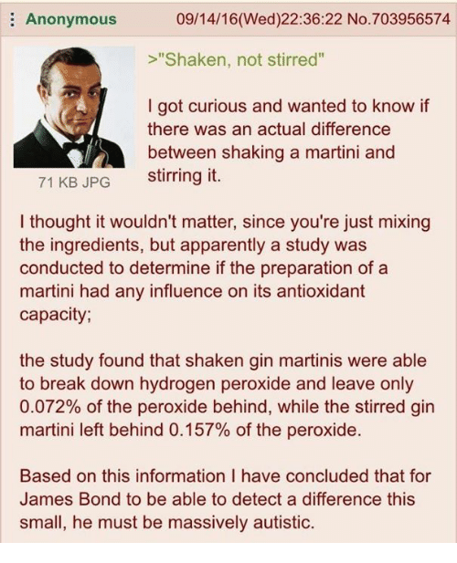 "4chan, Apparently, and James Bond: E Anonymous  09/14/16 (Wed)22:36:22 No.703956574  ""Shaken, not stirred""  I got curious and wanted to know if  there was an actual difference  between shaking a martini and  71 KB JPG  stirring it.  thought it wouldn't matter, since you're just mixing  the ingredients, but apparently a study was  conducted to determine if the preparation of a  martini had any influence on its antioxidant  capacity  the study found that shaken gin martinis were able  to break down hydrogen peroxide and leave only  0.072% of the peroxide behind, while the stirred gin  martini left behind 0.157% of the peroxide.  Based on this information have concluded that for  James Bond to be able to detect a difference this  small, he must be massively autistic."