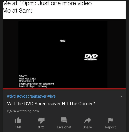 Hype, Chat, and Live: e at 10pm: Just one more video  at 3am :  NaN  STATS  Wall Hits: 2382  Corner Hits: 4  Loop Length: Not yet calculated  Level of Hype :Growing  #dvd #dvdscreensaver #live  Will the DVD Screensaver Hit The Corner?  5,574 watching now  16K  972  Live chat  Share  Report