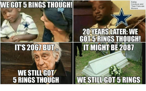 Dallas Cowboy: E GOT 5 RINGS THOUGH!  Dallas  Cowboys and  Their Fans are  Morons  20YEARSLATER: WE  GOTL5RINGSTHOUGH!  ITS 2067 BUT  IT MIGHT BE 2087  WE STILL GOTV  5 RINGS THOUGH  WE STILLGOTORINGS