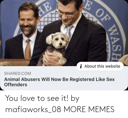 Shared: E OF  AE  i About this website  SHARED.COM  Animal Abusers Will Now Be Registered Like Sex  Offenders  WASH You love to see it! by mafiaworks_08 MORE MEMES