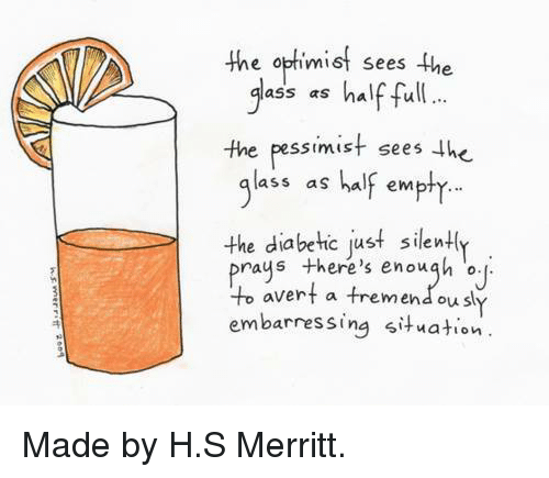 avert: e optimit sees the  lass as half full.  the pessimist sees he  ass as halr empty..  the diabe hic just silent  raus there's enough  avert a treme  embarressing situation  ou sl <p>Made by H.S Merritt.</p>