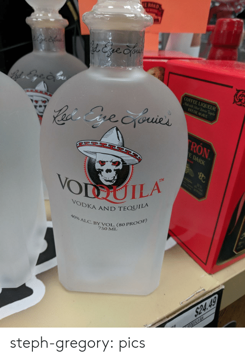 Steph: E ROAD  l&ve Cyou  COFFEE LIQUEUR  Mlewit Sier Patrn Teila  WDE AGAVE  Cacis Gre cyouies  RON  E DARK  B  TM  10  VODUILA  POOP  VODKA AND TEQUILA  40% ALC.BY VOL. (80 PROOF)  7SO ML  $24.49  VODOUILA So steph-gregory:  pics