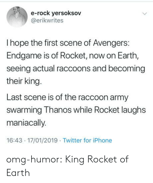 Iphone, Omg, and Tumblr: e-rock yersoksov  @erikwrites  I hope the first scene of Avengers:  Endgame is of Rocket, now on Earth,  seeing actual raccoons and becoming  their king.  Last scene is of the raccoon army  swarming Thanos while Rocket laughs  maniacally  16:43 17/01/2019 Twitter for iPhone omg-humor:  King Rocket of Earth