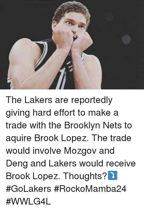 Brook Lopez: E The Lakers are reportedly giving hard effort to make a trade with the Brooklyn Nets to aquire Brook Lopez. The trade would involve Mozgov and Deng and Lakers would receive Brook Lopez. Thoughts?⤵#GoLakers  #RockoMamba24 #WWLG4L