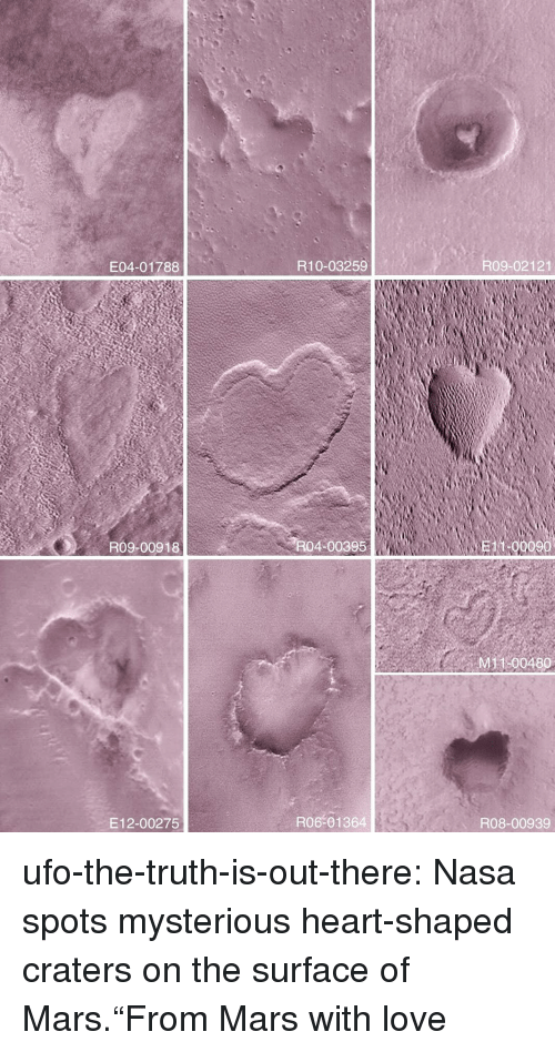 """Love, Nasa, and Target: E04-01788  R10-03259  R09-02121  R09-00918  R04-00395  11-00090  M 100480  E12-00275  R06-01364  R08-00939 ufo-the-truth-is-out-there:  Nasa spots mysterious heart-shaped craters on the surface of Mars.""""From Mars with love"""