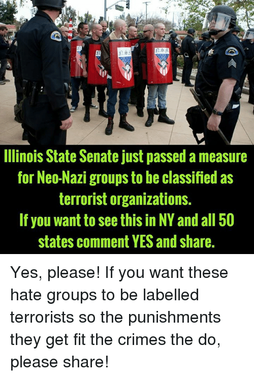 All 50 States, Yes, and Nazi: E5E  Ilinois State Senate just passed a measure  for Neo-Nazi groups to be classified as  terrorist organizations.  If you want to see this in NY and all 50  states comment YES and share Yes, please!  If you want these hate groups to be labelled terrorists so the punishments they get fit the crimes the do, please share!