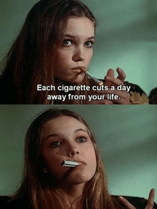 Cigarette: Each cigarette cuts a day  away from your lite