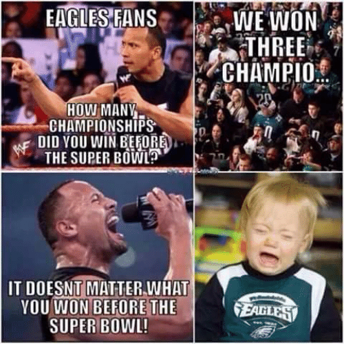 Philadelphia Eagles, Memes, and Super Bowl: EAGLES FANS  WE WON  THREE  CHAMPIO  HOW MANY  CHAMPIONSHIPS  DA  DID YOU WIN BEFORE  THE SUPER BOWL  IT DOESNT MATTER WHAT  YOU WON BEFORE THE  FEARLESI  SUPER BOWL!