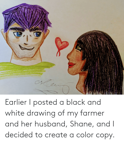 Shane: Earlier I posted a black and white drawing of my farmer and her husband, Shane, and I decided to create a color copy.