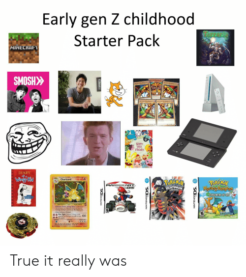 platinum: Early gen Z childhood  Terraria  Starter Pack  HINECRAFT  SMOSH>>  HAPPY  FRIENDS  DIARY  of a  Winpy Kid  120 HP  Charizard  MARIOKART.  DS  Kkystory Dung Pon  PLATINUM  EXPLORERS OF SKY  Fire spin Dscard Ener 100 True it really was