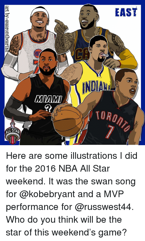 nba all star weekend: EAST  L STA Here are some illustrations I did for the 2016 NBA All Star weekend. It was the swan song for @kobebryant and a MVP performance for @russwest44. Who do you think will be the star of this weekend's game?