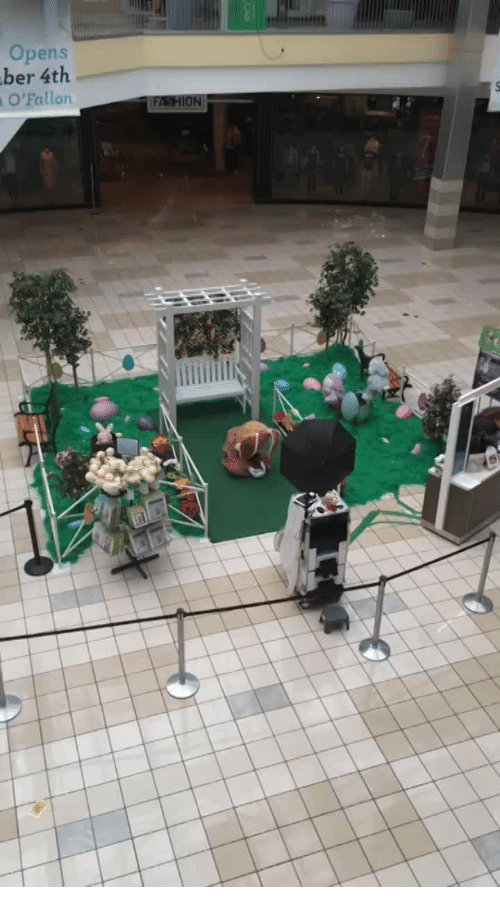 Easter, Sad, and Funny and Sad: Easter Bunny at the mall is sad because he has no visitors.