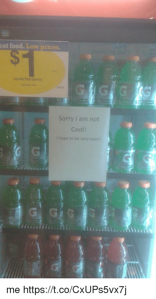 Food, Soon..., and Sorry: eat food. Low prices  Gntorade Thirst Quench  Sorry I am not  Cool!  I hope to be very soon me https://t.co/CxUPs5vx7j