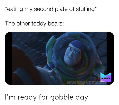 Bears Memes: *eating my second plate of stuffing*  The other teddy bears:  MEMES  MRMRMANGOHERD I'm ready for gobble day