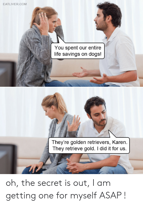 Dogs, Life, and Gold: EATLIVER.COM  You spent our entire  life savings on dogs!  They're golden retrievers, Karen  They retrieve gold. I did it for us. oh, the secret is out, I am getting one for myself ASAP !