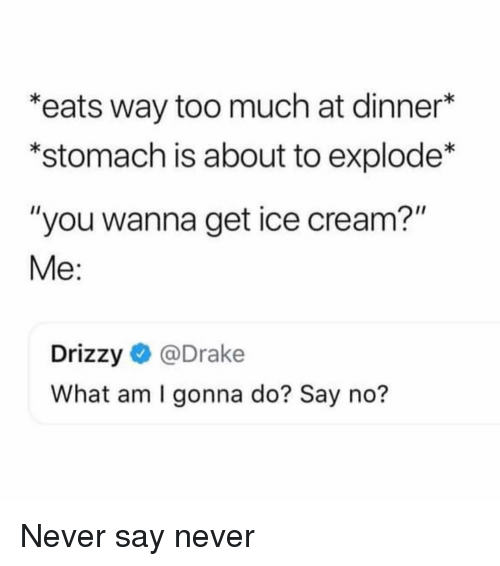"Drake, Too Much, and Ice Cream: *eats way too much at dinner*  *stomach is about to explode*  ""you wanna get ice cream?""  Me:  Drizzy@Drake  What am I gonna do? Say no? Never say never"