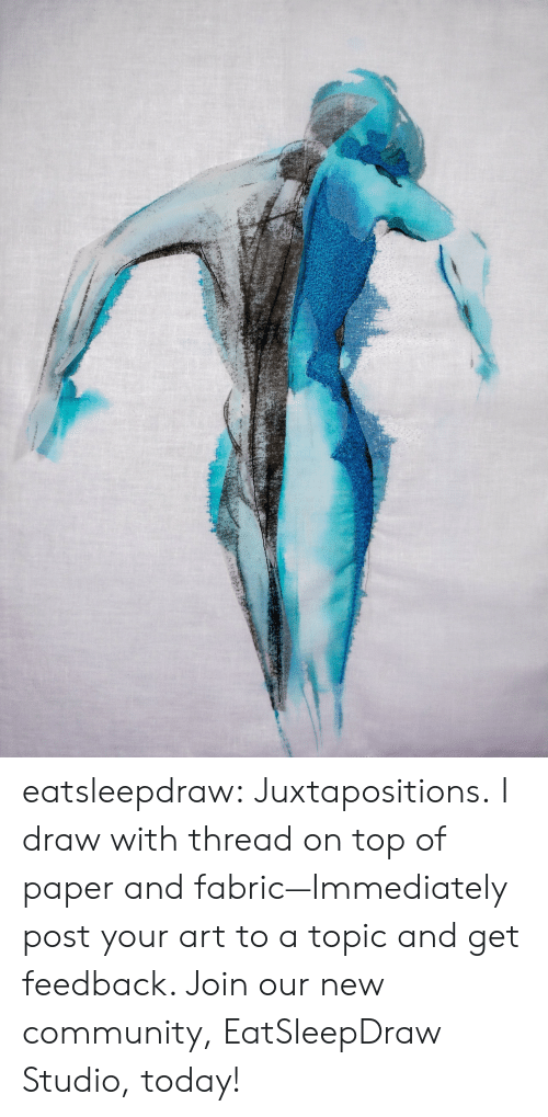 Community, Tumblr, and Blog: eatsleepdraw:  Juxtapositions. I draw with thread on top of paper and fabric—Immediately post your art to a topic and get feedback. Join our new community, EatSleepDraw Studio, today!