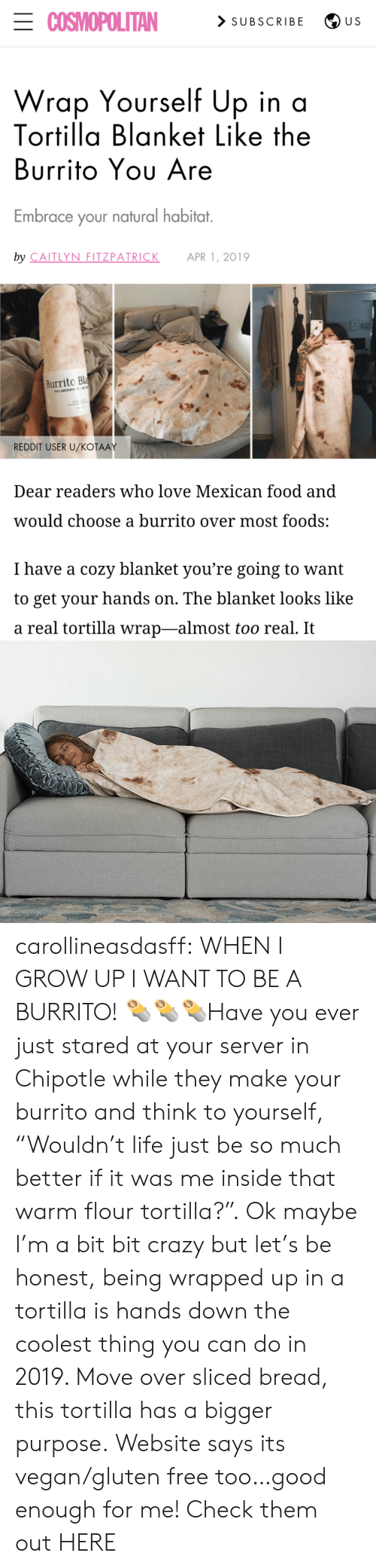 "Gluten: ECOSMOPOLITAN  > SUBSCRIBE  U S  Wrap Yourself Up in a  Tortilla Blanket Like the  Burrito Yου Are  Embrace your natural habitat.  by CAITLYN FITZPATRICK  APR 1, 2019  Burrito Bla  100% MICROFE  REDDIT USER U/KOŤAAY  Dear readers who love Mexican food and  would choose a burrito over most foods:  I have a cozy blanket you're going to want  to get your hands on. The blanket looks like  a real tortilla wrap-almost too real. It carollineasdasff: WHEN I GROW UP I WANT TO BE A BURRITO! 🌯🌯🌯Have you ever just stared at your server in Chipotle while they make your burrito and think to yourself, ""Wouldn't life just be so much better if it was me inside that warm flour tortilla?"". Ok maybe I'm a bit bit crazy but let's be honest, being wrapped up in a tortilla is hands down the coolest thing you can do in 2019. Move over sliced bread, this tortilla has a bigger purpose. Website says its vegan/gluten free too…good enough for me! Check them out HERE"