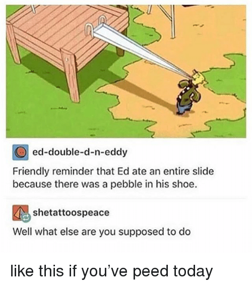 double d: ed-double-d-n-eddy  Friendly reminder that Ed ate an entire slide  because there was a pebble in his shoe.  Well what else are you supposed to do like this if you've peed today