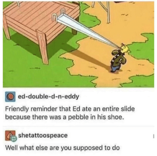 double d: ed-double-d-n-eddy  Friendly reminder that Ed ate an entire slide  because there was a pebble in his shoe.  shetattoospeacdodo  Well what else are you supposed to do