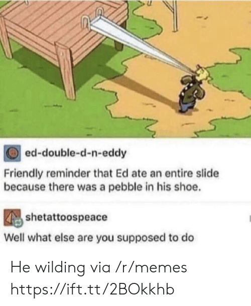 Wilding: ed-double-d-n-eddy  Friendly reminder that Ed ate an entire slide  because there was a pebble in his shoe.  shetattoospeace  Well what else are you supposed to do He wilding via /r/memes https://ift.tt/2BOkkhb