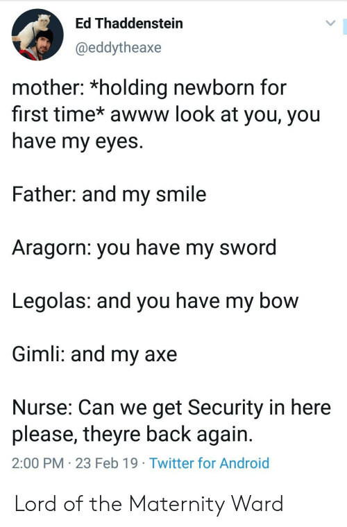 Android, Twitter, and Smile: Ed Thaddenstein  @eddytheaxe  mother: *holding newborn for  first time* awww look at you, you  nave my eyes  Father: and my smile  Aragorn: you have my sword  Legolas: and you have my bow  Gimli: and my axe  Nurse: Can we get Security in here  please, theyre back again  2:00 PM 23 Feb 19 Twitter for Android Lord of the Maternity Ward