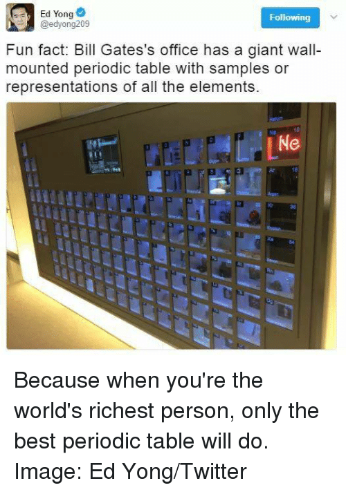 periodic table: Ed Yong  Following  @edyong209  Fun fact: Bill Gates's office has a giant wall-  mounted periodic table with samples or  representations of all the elements.  Ne Because when you're the world's richest person, only the best periodic table will do.  Image: Ed Yong/Twitter