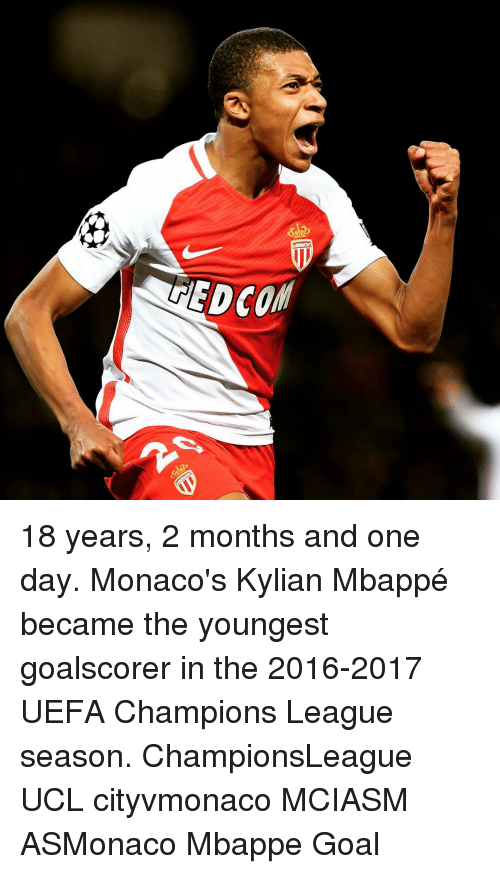 uefa champion league: EDCOffl 18 years, 2 months and one day. Monaco's Kylian Mbappé became the youngest goalscorer in the 2016-2017 UEFA Champions League season. ChampionsLeague UCL cityvmonaco MCIASM ASMonaco Mbappe Goal