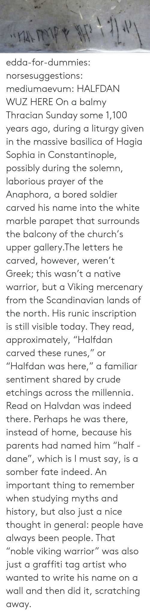 """Wuz: edda-for-dummies: norsesuggestions:  mediumaevum:  HALFDAN WUZ HERE On a balmy Thracian Sunday some 1,100 years ago, during a liturgy given in the massive basilica of Hagia Sophia in Constantinople, possibly during the solemn, laborious prayer of the Anaphora, a bored soldier carved his name into the white marble parapet that surrounds the balcony of the church's upper gallery.The letters he carved, however, weren't Greek; this wasn't a native warrior, but a Viking mercenary from the Scandinavian lands of the north. His runic inscription is still visible today. They read, approximately, """"Halfdan carved these runes,"""" or """"Halfdan was here,"""" a familiar sentiment shared by crude etchings across the millennia. Read on  Halvdan was indeed there. Perhaps he was there, instead of home, because his parents had named him """"half - dane"""", which is I must say, is a somber fate indeed.   An important thing to remember when studying myths and history, but also just a nice thought in general: people have always been people. That """"noble viking warrior"""" was also just a graffiti tag artist who wanted to write his name on a wall and then did it, scratching away."""