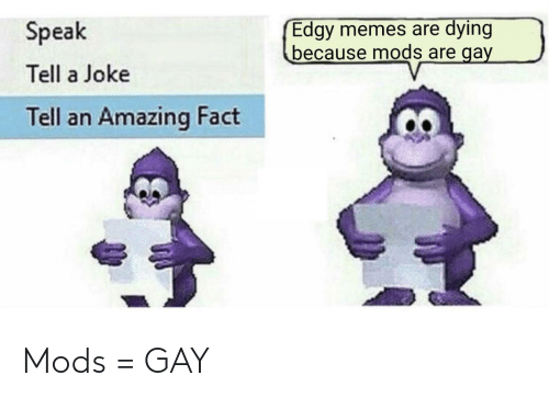 mods: Edgy memes are dying  because mods are gay  Speak  Tell a Joke  Tell an Amazing Fact Mods = GAY