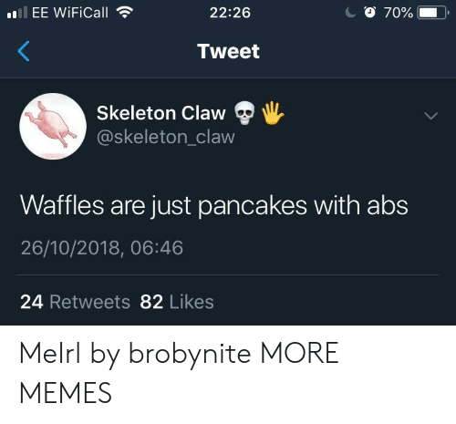 Dank, Memes, and Target: EE WiFiCall  22:26  Tweet  Skeleton Claw  @skeleton_claw  Waffles are just pancakes with abs  26/10/2018, 06:46  24 Retweets 82 Likes MeIrl by brobynite MORE MEMES