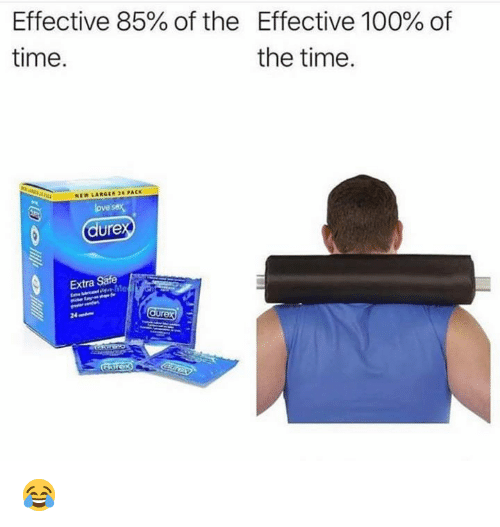 Anaconda, Time, and Safe: Effective 85% of the  time.  Effective 100% of  the time.  NEW LARGER 24 PACK  ve  durex  Extra Safe  24 😂