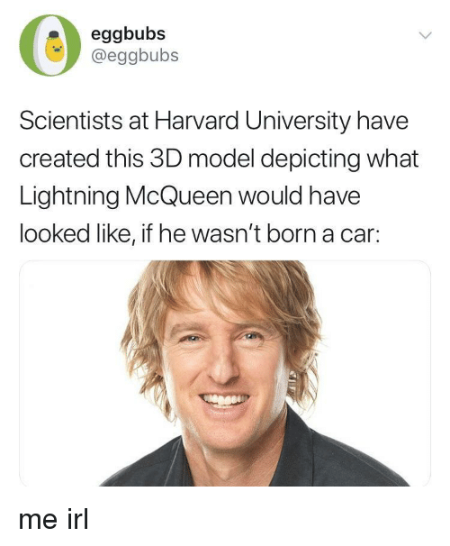 lightning mcqueen: eggbubs  @eggbubs  Scientists at Harvard University have  created this 3D model depicting what  Lightning McQueen would have  looked like, if he wasn't born a car: me irl