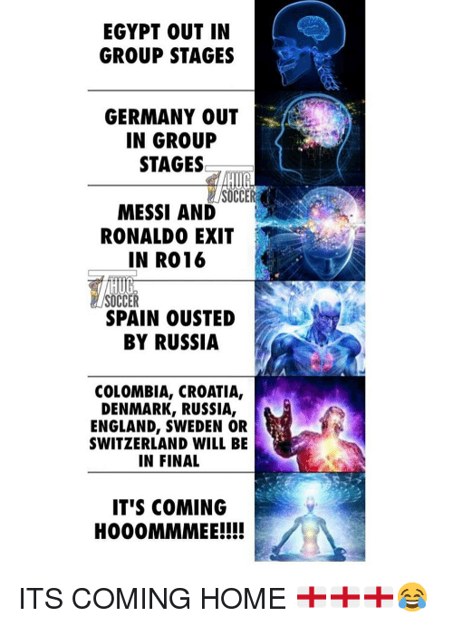 England, Soccer, and Colombia: EGYPT OUT IN  GROUP STAGES  GERMANY OUT  IN GROUP  STAGES  SOCC  MESSI AND  RONALDO EXIT  IN R016  HUG  SOCCER  SPAIN OUSTED  BY RUSSIA  COLOMBIA, CROATIA,  DENMARK, RUSSIA,  ENGLAND, SWEDEN OR  SWITZERLAND WILL BE  IN FINAL  IT'S COMING  HOO0MMMEE!!! ITS COMING HOME 🏴🏴🏴😂