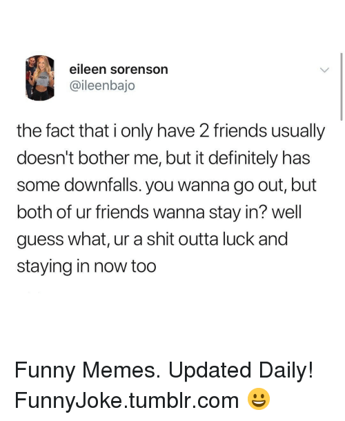 Definitely, Friends, and Funny: eileen sorenson  ADDY  @ileenbajo  the fact that i only have 2 friends usually  doesn't bother me, but it definitely has  some downfalls. you wanna go out, but  both of ur friends wanna stay in? well  guess what, ur a shit outta luck and  staying in now too Funny Memes. Updated Daily! ⇢ FunnyJoke.tumblr.com 😀