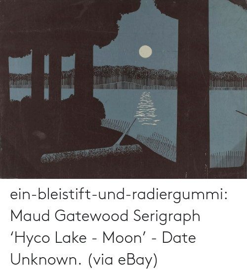 unknown: ein-bleistift-und-radiergummi: Maud Gatewood Serigraph 'Hyco Lake - Moon' - Date Unknown. (via eBay)