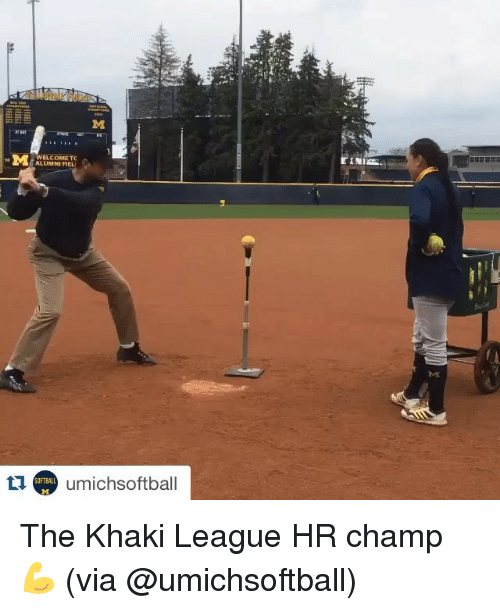 Sports, League, and Els: EL COME TC  umichsoftball  OFTBALL The Khaki League HR champ 💪 (via @umichsoftball)