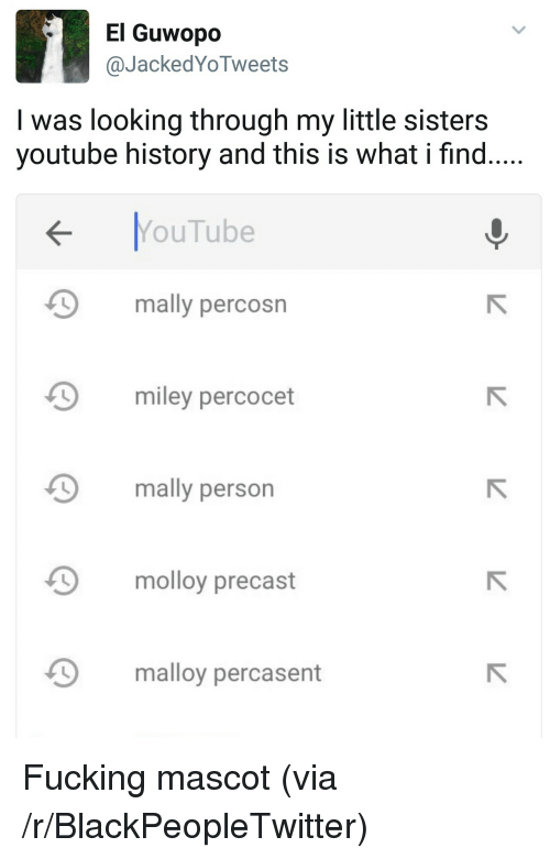 percocet: El Guwopo  @JackedYoTweets  I was looking through my little sisters  youtube history and this is what i find.....  YouTube  mally percosn  Д miley percocet  9 mally person  molloy precast  malloy percasent <p>Fucking mascot (via /r/BlackPeopleTwitter)</p>