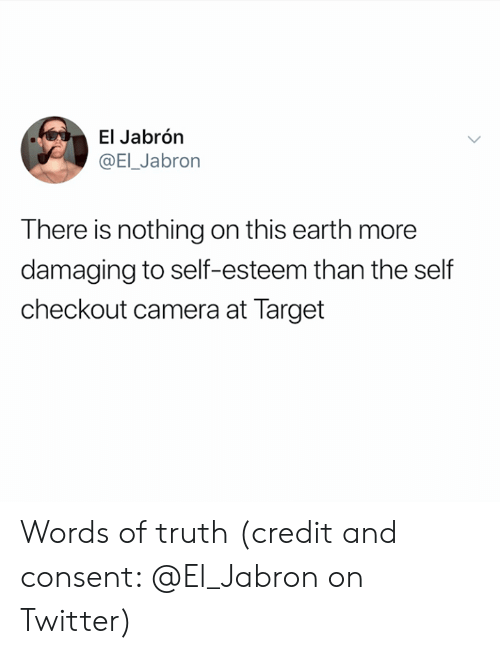 Target, Twitter, and Camera: El Jabrón  @EI_Jabron  There is nothing on this earth more  damaging to self-esteem than the self  checkout camera at Target Words of truth (credit and consent: @El_Jabron on Twitter)
