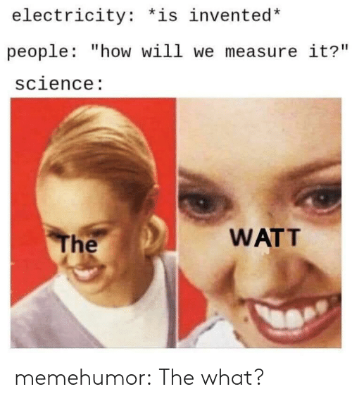 "watt: electricity: *is invented*  people: ""how will we measure it?""  science:  WATT  The memehumor:  The what?"