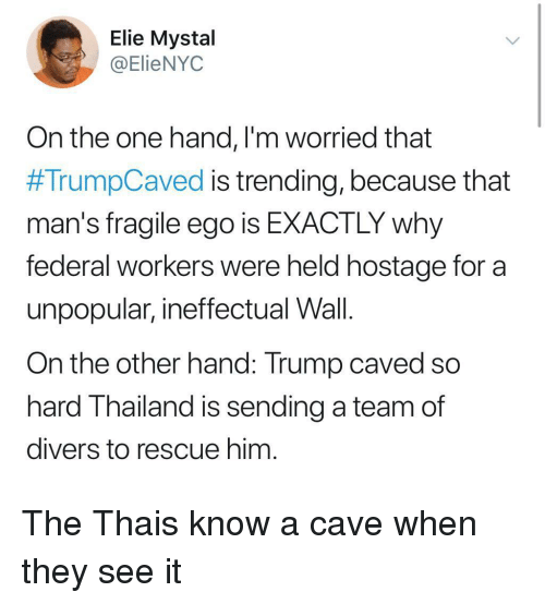 hostage: Elie Mystal  @ElieNYOC  On the one hand, l'm worried that  #TrumpCaved is trending, because that  man's fragile ego is EXACTLY why  federal workers were held hostage for a  unpopular, ineffectual Wall.  On the other hand: Trump caved so  hard Thailand is sending a team of  divers to rescue him The Thais know a cave when they see it