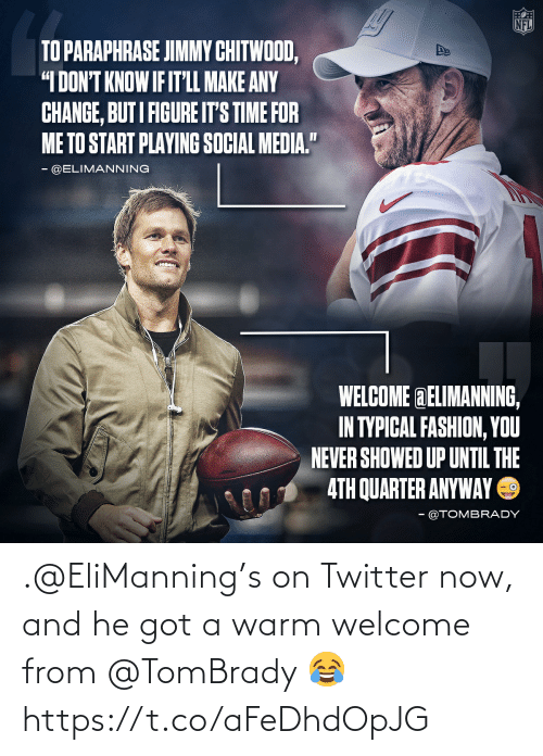 Memes, Twitter, and 🤖: .@EliManning's on Twitter now, and he got a warm welcome from @TomBrady 😂 https://t.co/aFeDhdOpJG