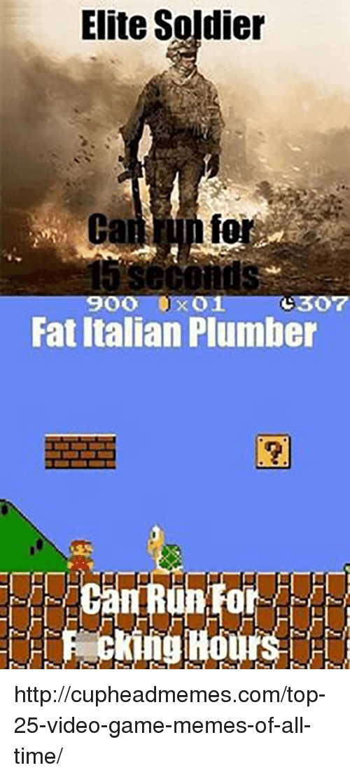 Game Memes: Elite Soldier  fo  900 0x01 (:307  Fat Italian Plumber  0  Pecking Hours http://cupheadmemes.com/top-25-video-game-memes-of-all-time/