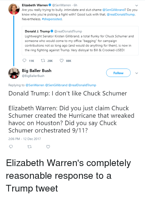 "9/11, Donald Trump, and Elizabeth Warren: Elizabeth Warren@SenWarren 6h  Are you really trying to bully, intimidate and slut-shame @SenGillibrand? Do you  know who you're picking a fight with? Good luck with that, @realDonaldTrump.  Nevertheless, #shepersisted.  Donald J. Trump@realDonaldTrump  Lightweight Senator Kirsten Gillibrand, a total flunky for Chuck Schumer and  someone who would come to my office ""begging"" for campaign  contributions not so long ago (and would do anything for them), is now in  the ring fighting agast Trump. Very disloyal to Bill & Crooked-USED!  11K  28K  88K  Big Baller Bush  @BigBallerBush  Follow  3  Replying to @SenWarren @SenGillibrand @realDonaldTrump  Donald Trump: I don't like Chuck Schumer  Elizabeth Warren: Did you just claim Chuck  Schumer created the Hurricane that wreaked  havoc on Houston? Did you say Chuck  Schumer orchestrated 9/11?  2:06 PM- 12 Dec 2017 Elizabeth Warren's completely reasonable response to a Trump tweet"