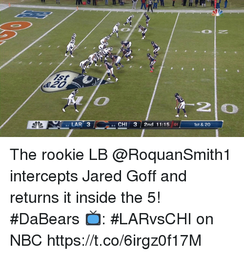 lar: Ell  20  1 LAR 3  4 CHI 3 2nd 11:15 :01  1st & 20  8-4 The rookie LB @RoquanSmith1 intercepts Jared Goff and returns it inside the 5! #DaBears  📺: #LARvsCHI on NBC https://t.co/6irgz0f17M