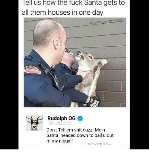 Tell Em: ell us how the fuck Santa gets to  all them houses in one day  acabbagecatmemes  Rudolph OG  OrudolphD  Don't Tell em shit cuzz! Me n  Santa headed down to bail u out  rn my nigga!!  2/25/2018 2.0am