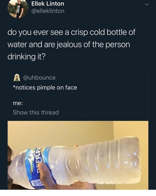 Drinking, Jealous, and Water: Ellek Linton  @elleklinton  do you ever see a crisp cold bottle of  water and are jealous of the person  drinking it?  @uhbounce  *notices pimple on face  me:  Show this thread